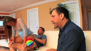 Pretty young wife lynn love fucking with her husband's friend right in front of him