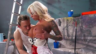 Lolly ink with gigantic knockers gets used like a fuck toy by hard dicked guy erik everhard