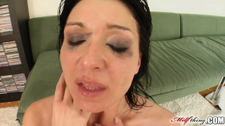 All in black milf gushes up during pounding