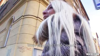 Gorgeous blonde with long hair accepts the offer
