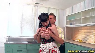 Busty housewife beverly paige pulls out her gigantic tits in the kitchen. she feeds lucky man with her sweet massive melons and then bares her smooth pussy. he licks her snatch and fucks her jumbo tits.