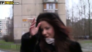 Sexy dark haired babe mikaela is seduced by a stranger on the street for a sex