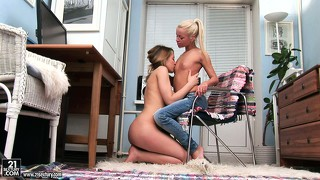 Two slender blondes with perky tits and hot asses explore common desires