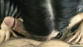 Rocco's pov clip with a brunette choking down his big love tool