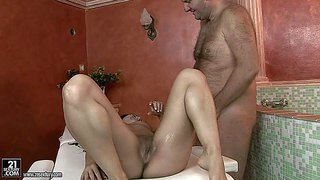 Naled long haired brunette sandra rodriguez with small firm tits and tight clean pussy gets her fuck hole filled with mature cock on massage table. older man bangs her shaved snatch like crazy!