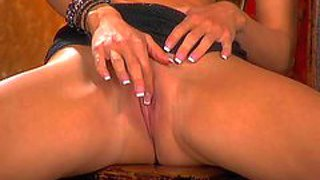 Turned on arousing glamorous brunette beauty with stunning big fun bags and perfect body teases and and enjoys fingering her trimmed precious pussy while her hubby is filming her in close up