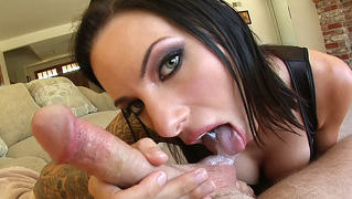 Super hot dark haired chick loves licking & sucking balls !