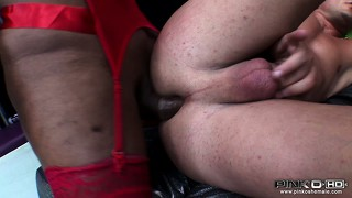 His latin ass is stuffed with big black tranny dick and he gets creamed