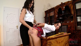 Naughty school girl gets some rough discipline from her principal