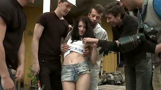 Tiny russian girl ganbanged with two dicks in ass