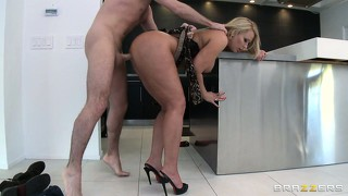 Hot blonde stepmom with a busty chest proves how fun she can be getting fucked in the kitchen