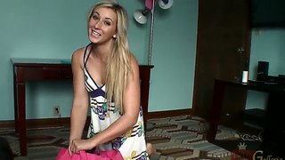 Lovely blonde lilly banks gets ready for the photo shoot