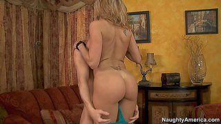 Sexy ass brandi love enjoys in getting her shaved slit licked and rammed by her son's friend michael vegas and enjoys in hot sex with him on the couch in living room