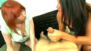 Ashli ames and zoey nixon having fun with one dick in their mouth