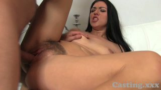 Castingxxx sexy amateur gets jizz all over her hairy bush