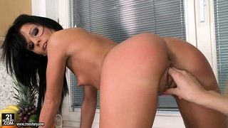 Hot blonde and brunette babes enjoy a cucumber feast in the kitchen
