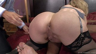Sex obsessed mature woman nina hartley in stockings gets her ass tongue fucked by her white husband before she takes big black dick in front of him. wet pussy lady sucks heavy chocolate dick just like crazy.