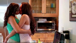 Sinn sage and gracie glam are in the mood for lesbian sex. they kiss in the the middle of the kitchen. they can't keep their lips off each other. these lezzies are hot and sex hungry.