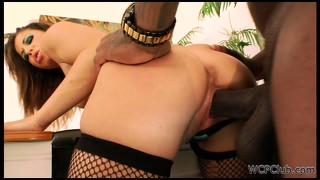 White ho in stockings gets a big black cock ready for her butt