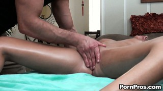 Karina white can't believe her luck when the masseur licks her wet pussy