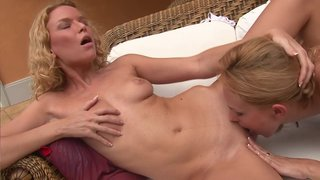 Blonde beauties give each other a rimjob like never before