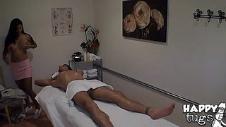 Asian masseuse allanah with big tanlined boobs strips down to her bare skin after she gets the cock massage started. lucky guy ryan driller gets his cock stroked by her nice hands and then fucks her big melons.