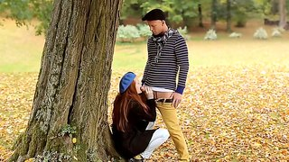 Sensual redhead  denisa heaven pleases hot stud with outdoor blowjob