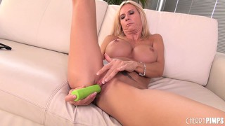 Brooke tyler has a hot solo afternooner with her lime green dildo
