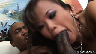 Mia smiles can't quite smile when riding such a huge ebony cock