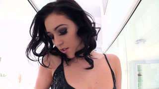 Brunette cutie betty l poses and shows off her ass, then fingers twat