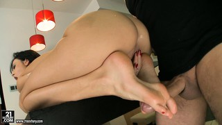 Her moans of pleasure echo all over the room as he fills her cunt from behind