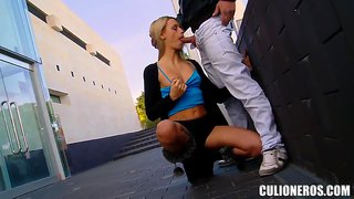 Beautiful blonde erica fontes starts to suck in the public place