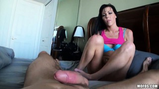 Tattooed brunette babe with a nice shaved pussy gets ravaged