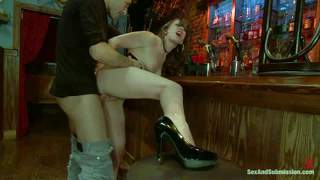 Drunk girl jennifer white gets abused by the bartender