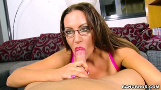 Brunette milf may look like a nerd in glasses but she certainly knows cock