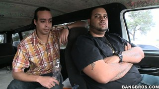 Two horny guys driving the bang bus and looking for newbies to fuck find an ebony in the parking lot