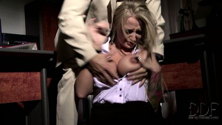 Blonde gets a rough session of foreplay from her horny master