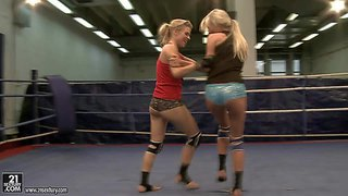 Arousing long haired young sporty blondes michelle moist and laura crystal with natural boobies and tight firm asses in booty shorts and t-shirts get naked while having trough chick fight