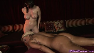 Sensual lesbian, boddy, ass and pussy massage with a beautiful brunette and blonde