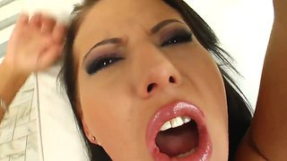 Horney sexy jasmin gets her tight wet pussy and anal fucked hard by three cocks in a foursome action