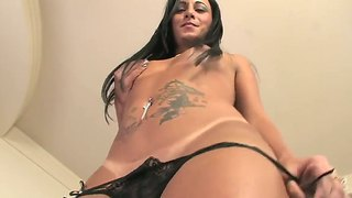 Shemale with big delicious ass and boobs thabata piurany masturbates and shows something sexy