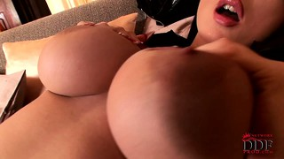 Alison plays with her big boobs and spreads wide to finger snatch