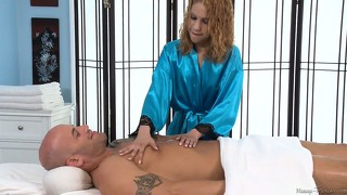 Horny masseuse massaging a lucky bastard and sucking his prick on the massage table