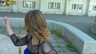 Arousing and provocative brunette anika with pretty face and hot body in sexy outfit gets filmed outdoor