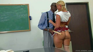 Naughty tempting blonde schoolgirl briella bounce with huge round juicy bums and natural boobs in short skirt seduces her black teacher sena michaels with meaty monster cock in the office