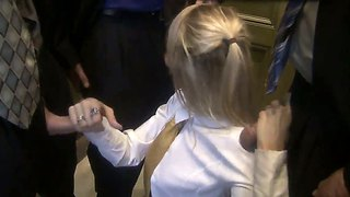 Nasty blonde schoolgirl jessica drake gets facial