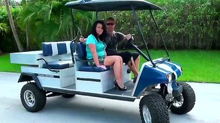 Naughty brunette milf goes for a ride with levi in the golf car and visit his home