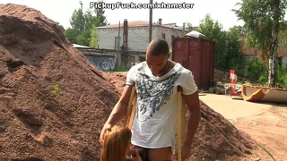 Redhead fuck black man at the construction site of the