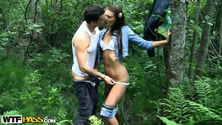 A little cock sucking in the woods leads to some bent over fucking
