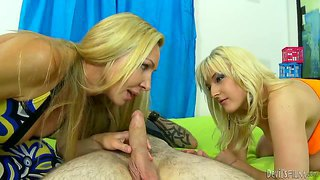 Blonde hot mother teaches her daughter how to take it deeply.
